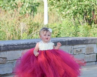 Flower girl dress - Tulle flower girl dress - Wine Dress - Tulle dress-Infant/Toddler - Pageant dress - Princess dress - Wine flower dress