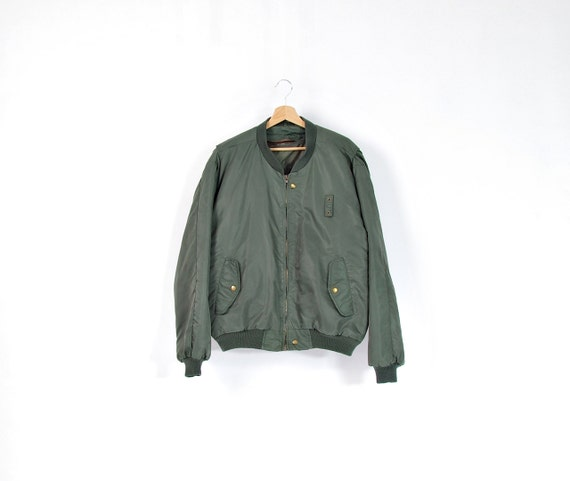 SALE 40% OFF - Vintage Flyer's Man Intermediate All Weather Olive Green Bomber Jacket MA-1 / Size l/xl