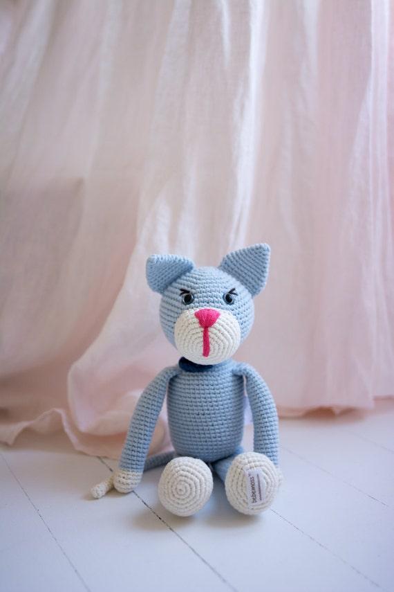 Crochet amigurumi cat Oliver, organic cotton soft toy