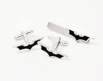 Batman Cufflinks & Tie Clip, Stainless Steel The Dark Knight, Geekery, Batman Tie Clip, Comic Cufflinks, Superhero Cufflinks, Superhero Gift