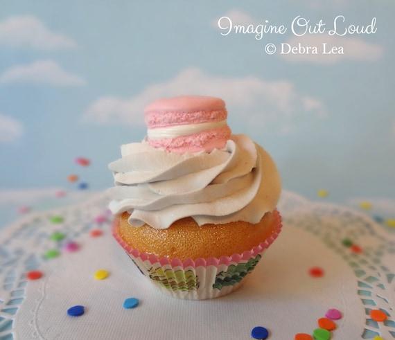 Fake Cupcake Handmade Pink Macaron Decor Fake Food Kitchen Display