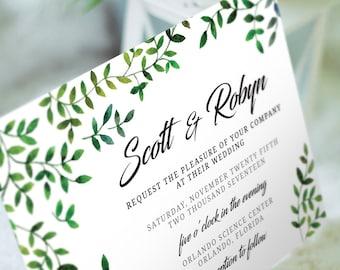 Watercolor Natural Leaves Wedding Invitation Suite - PRINTABLE