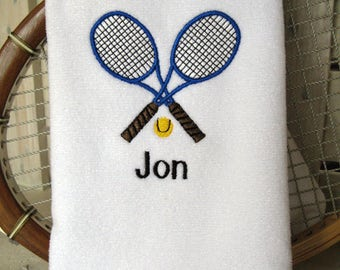 "Tennis Gift - Personalized Tennis Towel -  ""Crossed Racquets in Royal Blue and Brown"" #021B"