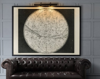 Constellation Map : Celestial Map Star Map  - 19th C. Constellation Map - Constellation Art - Giclee print