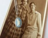 Silver Wedgwood cameo necklace - hallmarked Birmingham, 1985 - blue jasperware, wedgwood jewelry, wedgwood jewellery, wedgewood, classical