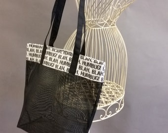 Mesh Tote. Blah, Humbug! Black and White Bag with Long Shoulder Straps. Project, Market or Beach Bag. From MDS Creative.