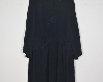 Vintage 1920's silk midnight blue dress embroidered with pearls - antique dress - old dress
