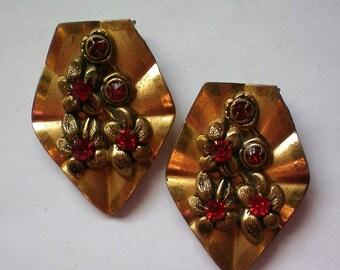 Identical Red Rhinestone Brass Metal Fur or Dress Clips - 5363