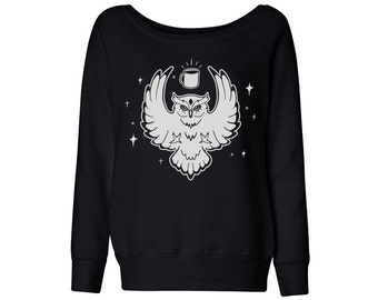 Night Owl Coffee Black or Grey Wideneck, College Student Shirt, Coffee Lover, Cute Animal Shirt, Up All Night, Ruled By The Moon