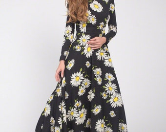 Black Daisy Floral Maxi Dress with Long Sleeves - Black Maxi Dress with Daisy Print-Black Maxi Dress-Floral Maxi Dress Winter Dress C22