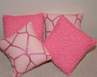 "Doll Pillows (4) -- Light Pink w Hot Pink Shiny Web & Pink-on-Pink Web - fits 18"" dolls - FREE SHIPPING -- Doll Furniture"