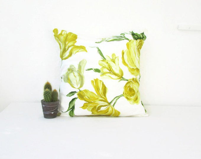 Yellow flower pillow cover, 16 inch square, handmade in the UK