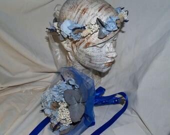 coronita, bouquet, freeze dried flowers, weddings, brides in blue