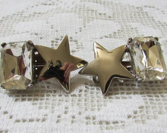 Vintage estate star and large rhinestone clip on earrings wedding bridal prom