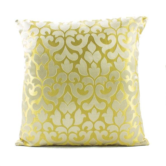 Gold Silk Decorative Pillow : Gold Silk PillowDecorative throw pillow 16x16 by Fabricasia