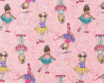 Tippy Toes Ballerina on Pink Fabric -  100% Cotton Quilting Apparel Crafts Home decor