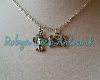 Small Silver Travel Charm Necklace with Airplane & New York, Paris and Tokyo Suitcase on Silver Crossed Chain. Holiday, Travel Agent, Surfer