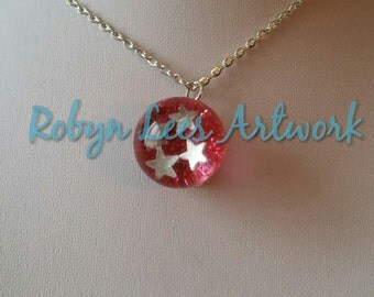 Red Glitter & Silver Stars Ball Bead Necklace on Silver Crossed Chain or Black Faux Suede Cord