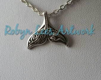Small Silver Tribal Filigree Patterned Whale Tail Mermaid Tail Charm Necklace on Silver Chain or Black Cord. Nautical, Surfer, Beach Holiday