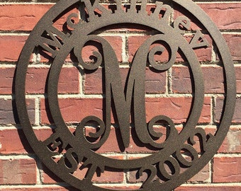 Mckinnev: Family Signs, Last Name, Family Established Signs, Last Name Established Sign, Anniversary Gifts, Front Door Wreath,