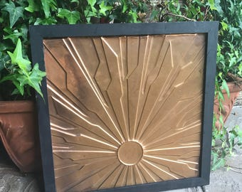 Sunburst Copper Relief With Black Frame - Wall Decor