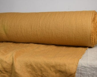 Pure 100% linen fabric. 190gsm. Mustard color. Middle weight, densely woven, washed-softened. For clothes and other wide usage.