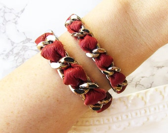 Scarlet Leather Stacker / Stainless Steel Chain Bracelet / Chain Link / Silver Chain / Leather Bracelet / Coco Bracelet / Red