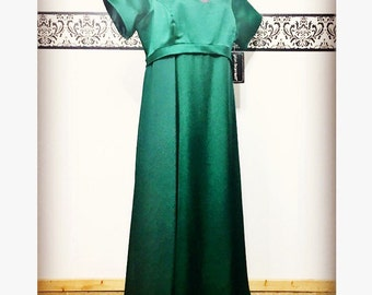 Deadstock 1980's Green Evening Dress by Von Bramlett, Plus Size, Size 18, Elegant Pin Up Gown, 80's Black Tie Gown, Plus Size Green Gown