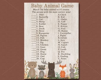 Woodland Baby Shower Game, Baby Animal Game Printable, Forest Animals Shower, Woodland animals baby shower Instant Download  016
