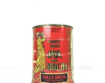 Vintage Hills Bros Coffee Can 1940s Hills Brothers Coffee Can Tin 1930s Hills Brothers Coffee Tin Java and Mocha