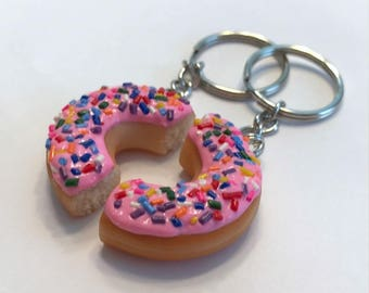 Pink Doughnut Halves Key Chains, BFF Key Chains, Polymer Clay Food
