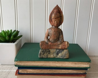 Vintage Stone Buddha, Hand Carved Seated Buddha Statue, Buddism Decor, Asian Art, Zen Meditation Room, Bohemian, Feng Shui, Buddist Blessing