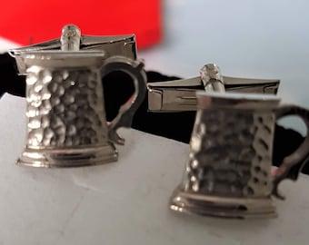 Vintage cuff links, mens silver cufflinks, silver plated, cuff links, dressy cuff links, beer mug cuff links, 1960s cuff studs