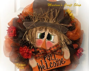 Scarecrow Wreath,Fall Wreath,Scarecrow Hat Wreath, Large outdoor Scarecrow Wreath, Fall Wreath, Scarecrow Autumn Wreath Scarecrow Decoration