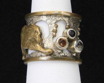 Vintage Sterling Silver Mars & Valentine Leopard Ring Band Gemstones Size 6.75