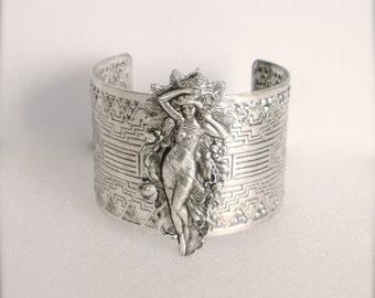 Art Nouveau Goddess Bracelet, Statement Cuff Bracelet, Goddess Cuff Bracelet, Wedding, Bridesmaid Jewelry, Goddess Jewelry, Gift for Her