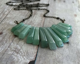 "Green Statement Necklace / Boho Bib Necklace / Natural Gemstone Green Aventurine Jewelry / 16"" - 22"" Brass Chain"