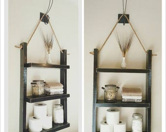 Large Bathroom Shelf   Book Shelf   Rope Hanging Wood Shelf   Decor Shelf    Medicine
