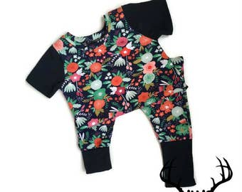 Romper girls, flowers, overalls, romper, jumper, one piece, one Navy coral summer flowers, combination, baby and children