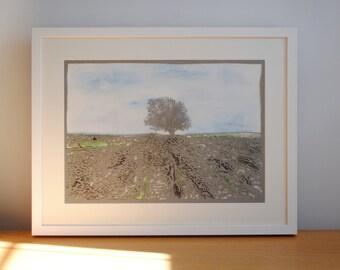 Malham Cove papercut art – Father's Day gift – Yorkshire landscape art – papercut – watercolour– Harry Potter – Yorkshire Dales – OOAK