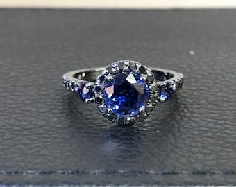 Blue Sapphire Engagement Ring Black Diamond Wedding Ring 14K Black Gold Engagement Ring with 6.5mm Round Blue Sapphire Valentine's - V1023M