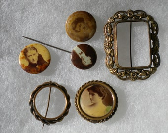 Vintage Antique Victorian 1880s-1900s Mourning Photo Picture Pins Mourning Portrait Frames FREE Shipping
