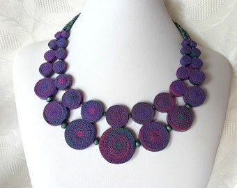 Polymer Clay Necklace, Clay Beads Necklace, OOAK