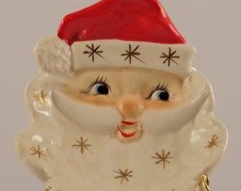 Vintage Santa Claus Candy Dish/Santa Hand Painted Candy Dish/Antique Santa Face/Vintage Ceramic Santa Dish/Vintage Christmas Candy Dish