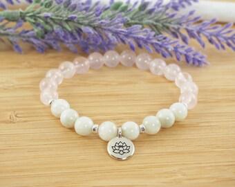 Genuine Moonstone Bracelet, Rose Quartz Bracelet, Moonstone Jewelry,  Lotus Bracelet, Gemstone Bracelet, Spiritual Jewelry, Yoga Bracelet