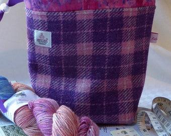 Knitting Bag, Knitting Project Bag, Sock Project Bag in Harris Tweed
