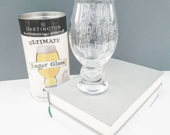 Personalised Dartington Ultimate Lager Glass Fathers Day gift hand engraved, lager drinkers gift, gift for husband, Dad, boyfriend customise