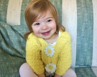 CROCHET PATTERN - Toddler Little Daisy Cardigan Crochet Pattern