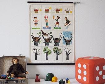 SALe Vintage * 1960s * German pull down Chart * Nature CHANGE OF SEASONS * Jaeger & Co. * Mid Century Decoration * Children's room * Retro