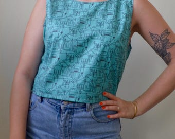 Architecture lover/ linear town printed material top- S/M